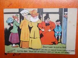 COMIC POSTCARD FAT LADY AND BOY ON BUS BY SYLLIKUSS POSTED 1909 WITH 1/2D STAMP