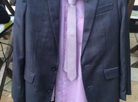 Boys grey suit plus shirt and tie - age 10