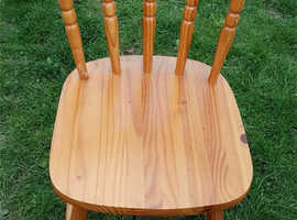 """WOODEN CHAIR - 31 1/2"""" TALL - BACK 14"""" - SEAT 14 X 15 1/2"""" LEGS 18 1/2"""""""