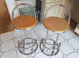 Chrome Bar Stools with Pine Seats