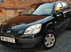 Kia Rio, 2008 (58) Black Hatchback, Manual Petrol, 88,000 miles