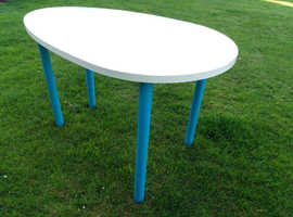 White/Blue Ikea table suitable for outdoor or indoor