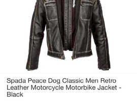 Men's spada peace dog leather hooded motorcycle jacket : size 42-medium