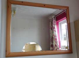 Large Polished Pine Framed Mirror