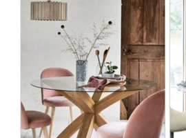 """""""NEXT"""" OAK AND GLASS DINING TABLE AND 4 CHAIRS"""