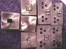 Antique gold electric sockets, switches, arial and phone