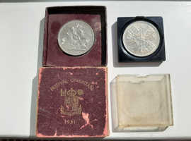 1953 Elizabeth II Coronation Crown and 1951  Festival of Britain coins