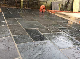Slate grey paving slabs