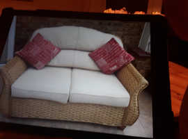 Conservatory  Furniture  2 Seater Settee 2 Armchairs 2 Glass Top Tables