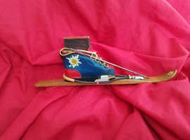 Vintage ski boot matchbox holder
