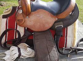 Western Saddle - with Blanket - Bit - Rains