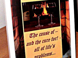 Funny Alcohol Themed Framed Plaque for Man Cave or as Amusing Gift (Free Stand/Wall Hang)
