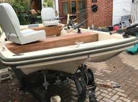 13ft Dell Quay Dory engine and trailer. Fox Rapalla Pike lure