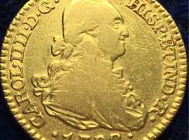 King Charles IV 22ct Gold 1 Escudo Spanish Colonial Gold Coin Spanish Doubloon 1792.