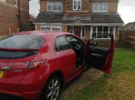 Honda Civic, 2008 (58) Red Hatchback, Manual Petrol, 116,000 miles