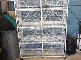 Block of 8 Single Wire Cages with Stand