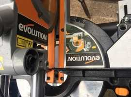 Evolution chop saw and table with sawdust collection Hoover