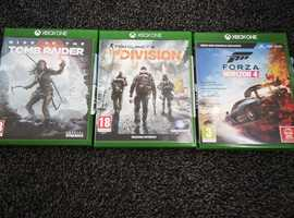 tomb raider forza horizon 4 and tom clancy xbox one games