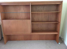 Solid teak wall unit with light