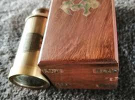 "Royal navy 6"" telescope & brass wood box"