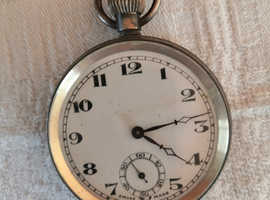 1928, Antique 925 Solid Silver Swiss Pocket Watch with Chain, Tested & Working