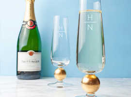 LSA Monogrammed Champagne Glasses - Free Delivery