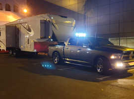 As new, Dodge Ram Laramie PLUS 11 mtr American 5th wheeler, EURO CONVERTED, very little used.