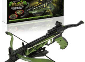ANGLO ARMS MANTIS 80LB DRAW SELF COCKING PISTOL CROSSBOW WITH BUILT IN TACTICAL GRIPS. INCLUDING 15 FREE METAL BOLTS.