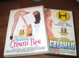 2 x adult erotic dvds cream pie, doubled creamed ,free post