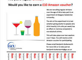 Participants wanted for alcohol study- free drinks and £10 Amazon voucher reward