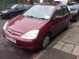 Honda Civic, 2003 Red Hatchback, Manual Petrol, 77,000 miles