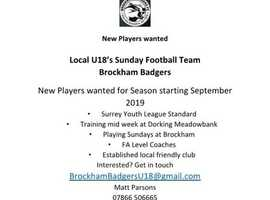 Calling all U18 footballers! Come and join Brockham Badgers U18 team for the 2019/20 season