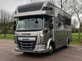 NEW COOKE PREMIER 2. 7.5Ton Horse Box, Fully Coach Built with a Fantastic Specification on Brand New DAF 180 AUTO Chassis Cab.