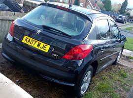 Peugeot 207, 2007 (07) Black Hatchback, Manual Petrol, 80,000 miles