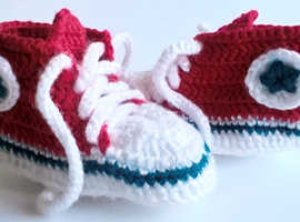 Red Baby Converse-like Sneakers Handmade Crocheted - New