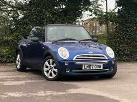 2007 (07) MINI ONE 1.6 2 door Convertible in BLUE with Black Roof Mileage Only 112,186 miles Long MOT 9th September 2019