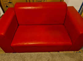 Red faux leather 2 seater sofa
