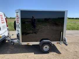 NEW Tickners Box Trailer GP75 7'x5'x5' in Black with Shaped Front & Barn Doors