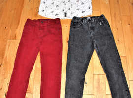 Jeans Slim Fit 2 Pairs Black/Red & 1 Smart Dress Shirt Bundle Teens 11-12yrs
