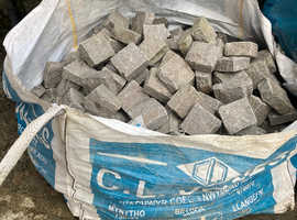 Grey Granite cobble setts for sale.