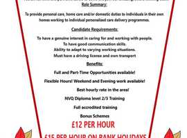 Full and Part-Time Home Care Support Vacancies (No experience necessary, full training provided)