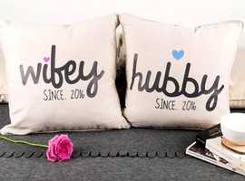 HUBBY & WIFEY PERSONALISED (2016) CUSHIONS brand new