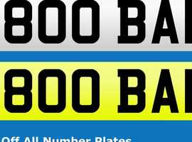 M800 BAN.  PERSONALISED NUMBER PLATE