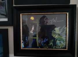 sigourney weaver/michael biehn, both genuine hand signed pictures, framed.