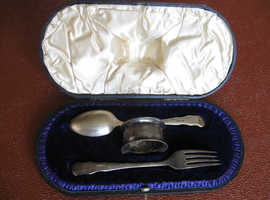 ANTIQUE SILVER SPOON FORK AND NAPKIN CHRISTENING RING SET IN BOX SHEPHERDS CO
