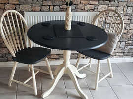 Chalk painted Dining room table and two chairs