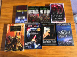 8 x Sci-Fi Paperback Books (New & Used), Sphere, The Subtitle Knife, Kraken...