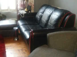 Leather 3 seater sofa and cuddle chair