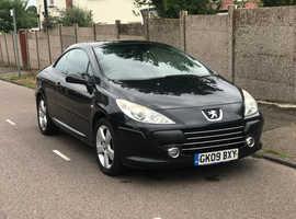 Peugeot 307, 2009 (09) Black Convertible, Manual Diesel, 81,000 miles