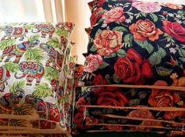 Large, Homemade, Vintage German upholstery thick tapestry cushions